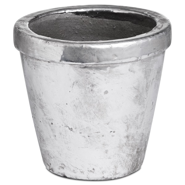 Metallic Ceramic Small Rimmed Plant Pot