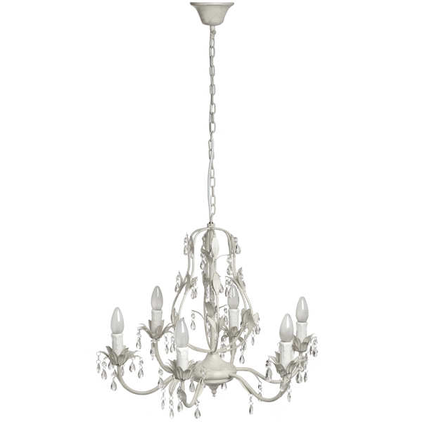 Six  Light  Crystal  Drop  Chandelier