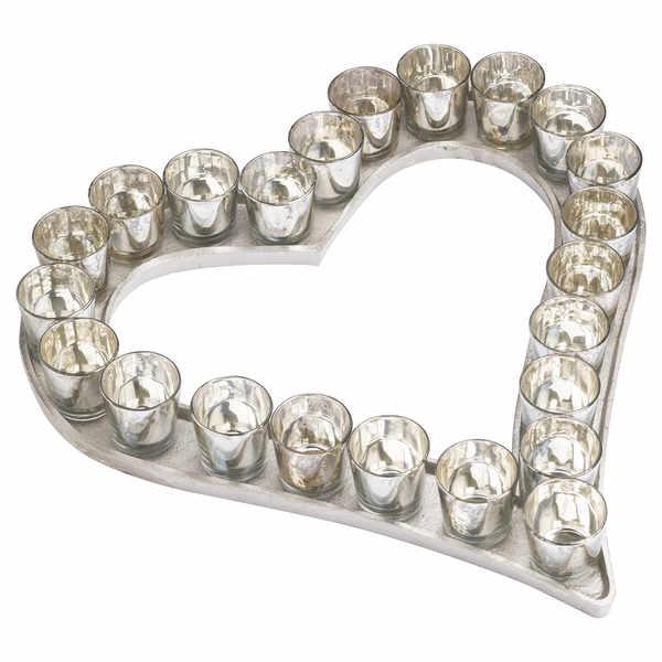 Large Cast Aluminium Heart Votive Tray With Mercury Glass