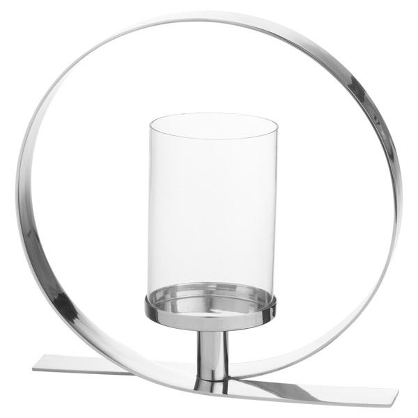 Silver Loop Design Candle Holder