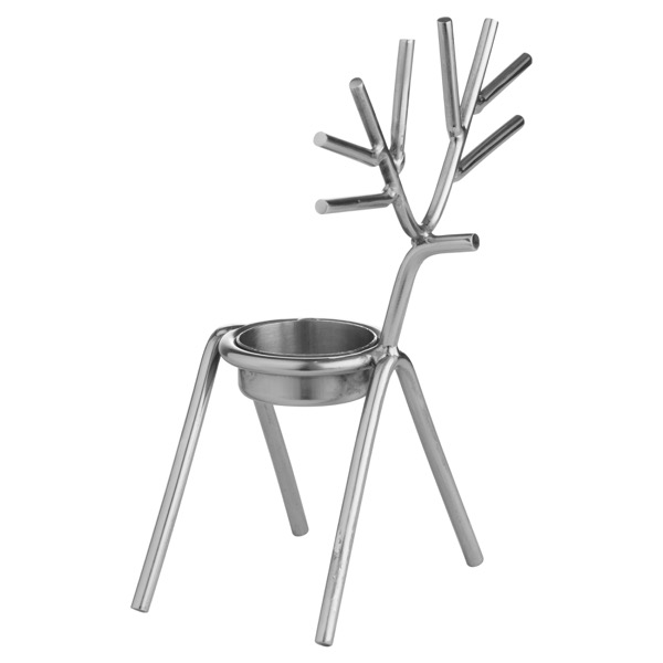 Silver Stick Reindeer Tea Light Holder