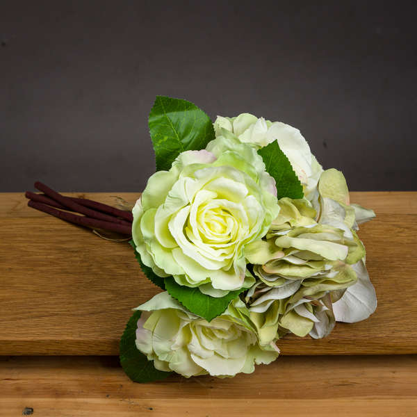 Green And White Hydrangea And Rose Bouquet