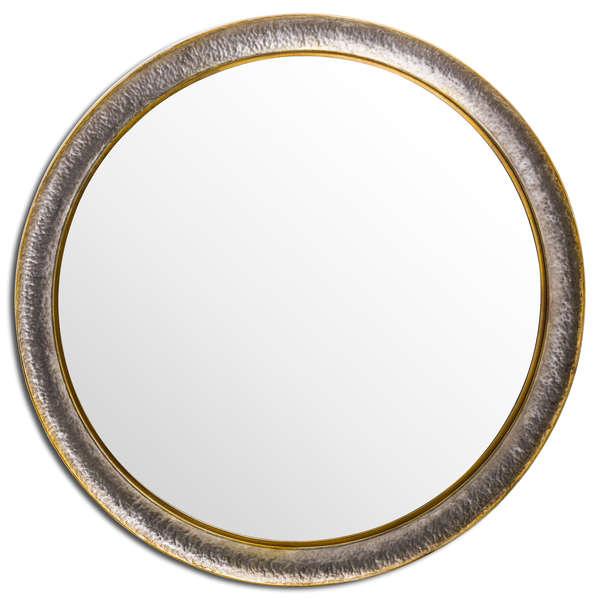 Large Hammered Circular Wall Mirror