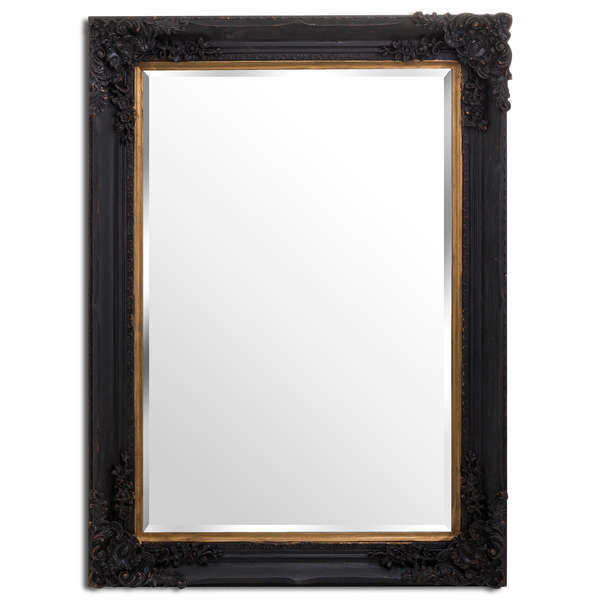 Large Black And Gold Baroque Wall Mirror