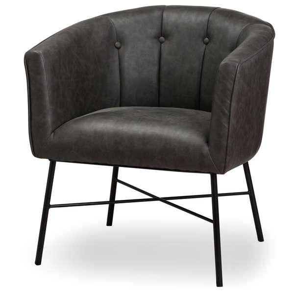 Grey Faux Leather Urban Tub Chair