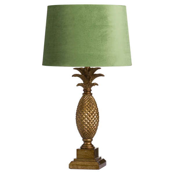 Tall gold Pineapple Lamp With Artichoke Velvet shade