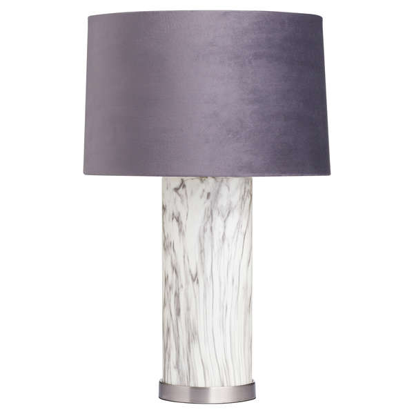Marble Effect Glass Table Lamp With Grey Velvet Shade