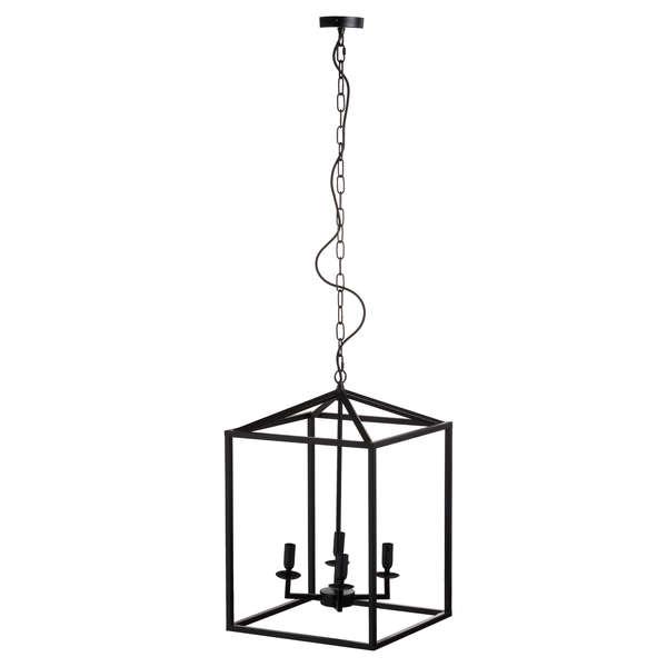 Black Large Coach Lantern Hanging Pendant Light