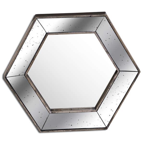 Astor Distressed Hexagonal Mirror