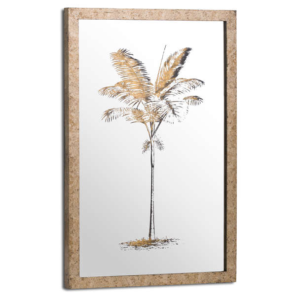 Metallic Mirrored Brass Palm Wall Art