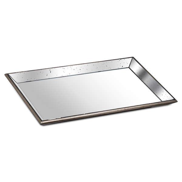 Astor Distressed Large Mirrored Tray With Wooden Detailing