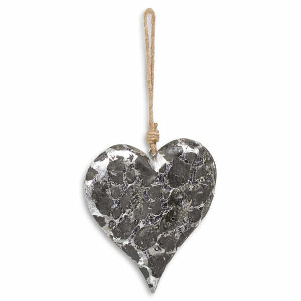 Large Mottled Black And Silver Heart Rope Hanging Decoration