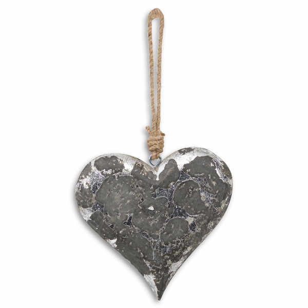Mottled Black And Silver Heart Rope Hanging Decoration