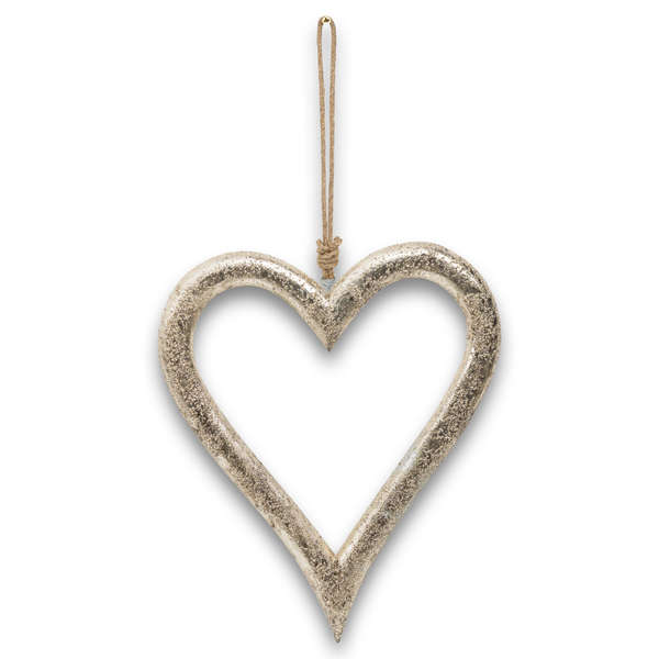 Silver Wooden Heart Hanging Decoration