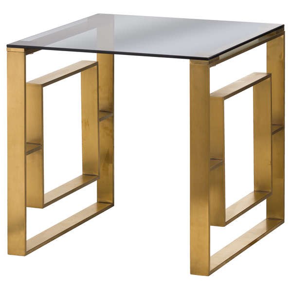 The Edwin Stainless Side Table In Brushed Brass
