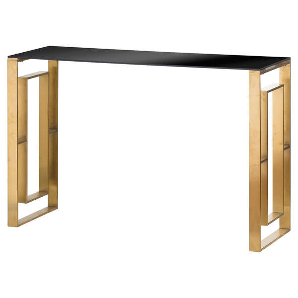 The Edwin Stainless Console Table In Brushed Brass