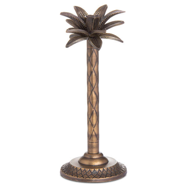 Palm Tree Candle Holder In Brass Finish
