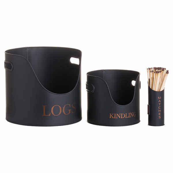 Logs & Kindling Buckets + Matchstick Holder Black And Copper