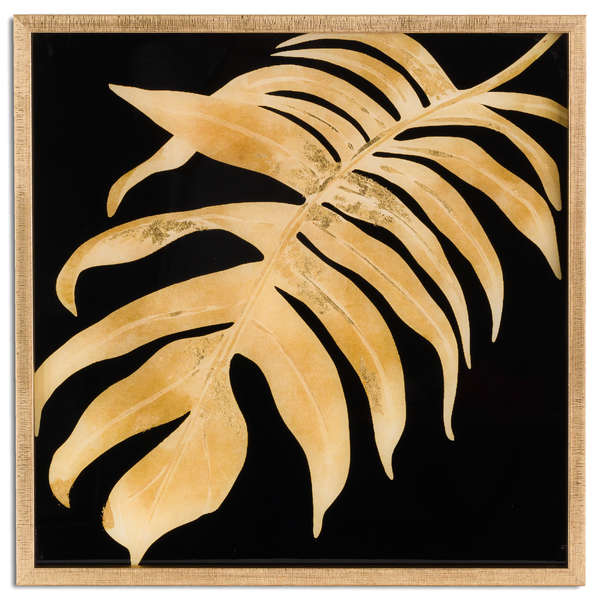 Metallic Leaf Glass Image In Gold Frame