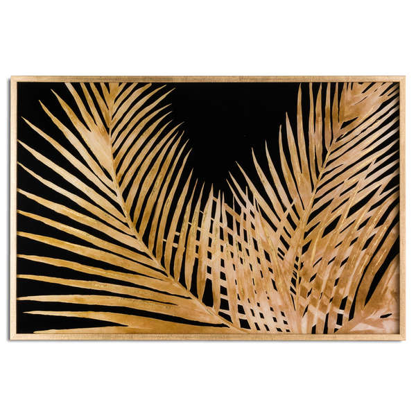 Large Metallic Palm  Glass Image In Gold Frame