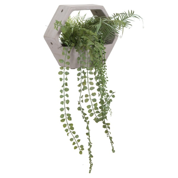 Hexagonal Stone Pot With Fern