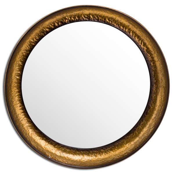 Antique Hammered Brass Deep Dish Set Of Three Mirrors