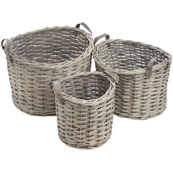 Set Of Three Round Wicker Storage Baskets