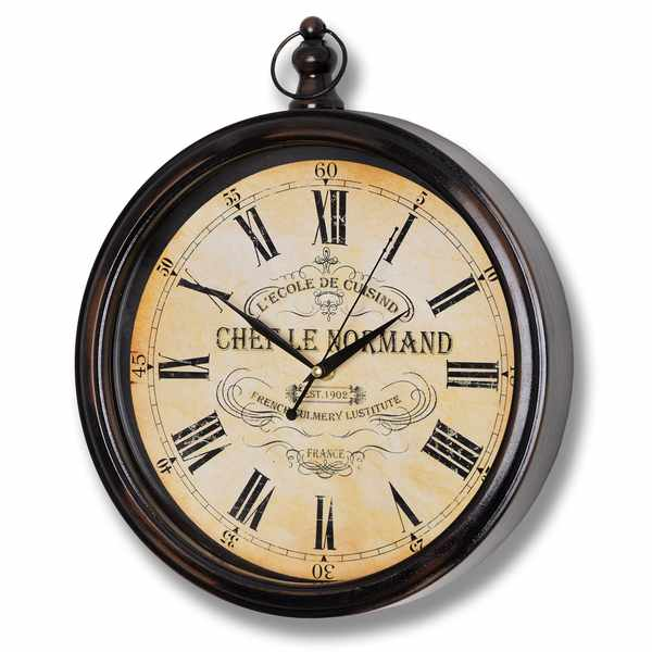 Round  Wood  Framed  Ecole  De  Cuisine  Clock