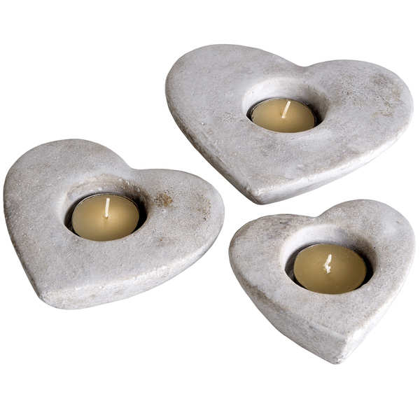 Set Of Three Heart Tea Light Holders