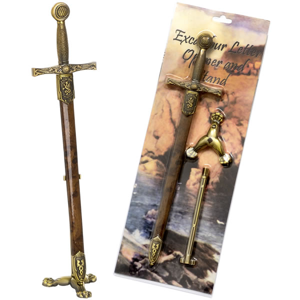 Excalibur With Sheath And Stand Letter Opener In Retail Pack