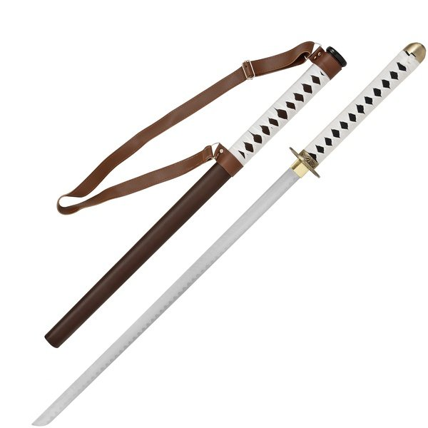 Katana Blade with Leather Strapped Brown Sheath with Stand