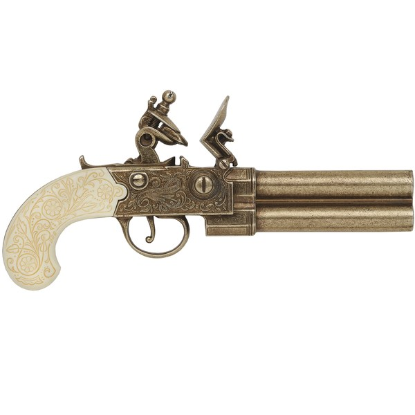 Double barrel pistol by Twigg of London brass w/ ivory grip
