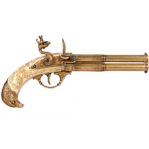Revolving 2 Barrel Ivory Flintlock Pistol, France 18Th. C.