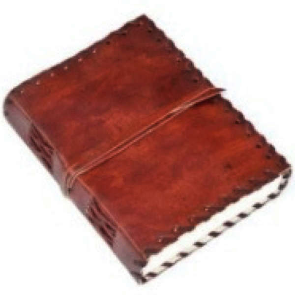 Handmade Leather Bound Notebook with Leather Tie