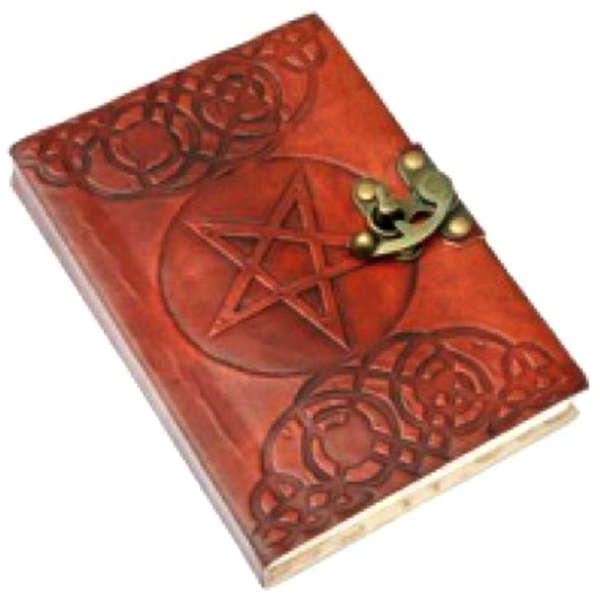 Handmade Pentagram Leather Bound Notebook with Metal Clasp