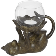 Cat On Back Tea Light Holder