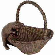 Peering  Cat  And  Basket  Figure