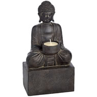 Thai  Buddha  Tea  Lite  Holder  In  Antique  Stone  Finish