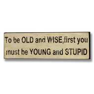 To  Be  Old  &  Wise  First  You  Need  To  Be  Young  &  Stupid  Sign