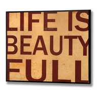 Life  Is  Beautiful  Wooden  Plaque  (red  Lettering)