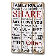 Family Rules Plank Style Plaque