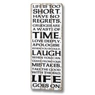 Life  Is  Too  Short  Plank  Style  Plaque