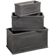 Set  Of  Three  Rectangular  Lead  Planters