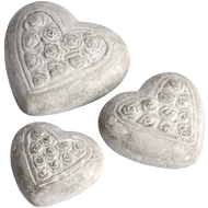 Set Of Three Rose Patterned Hearts