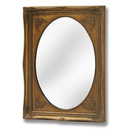 Oval  Mirror  With  Rectangular  Gilt  Frame  -  50  X  70  Cm
