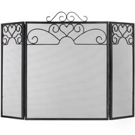 Heart Motif Black Brushed Steel Fire Screen small