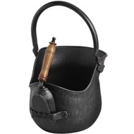 Black Brushed Steel Coal Bucket with Shovel