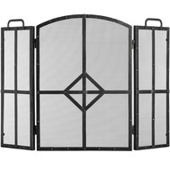 Classic Black Brushed Steel Fire Screen