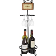 Black  Metal  Wine  Bottle  And  Glass  Holder  With  Brushed  Finish