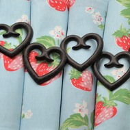 Set  Of  6  Heart  Napkin  Rings
